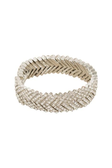 Adorne - Diamante Stacked V Cuff - Silver - Front