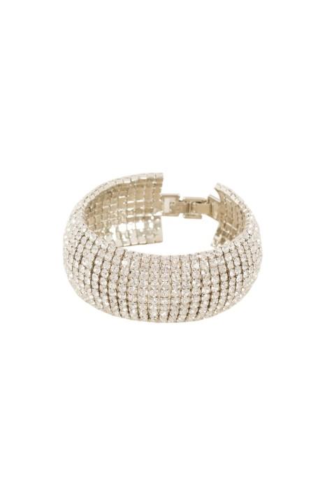 Adorne - Diamante Wide Hinge Clasp Cuff - Silver - Front
