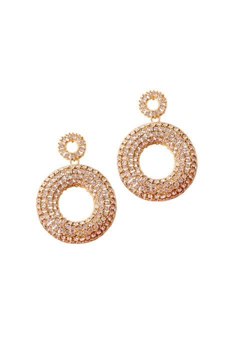 Adorne - Encrusted Ring Drop Statement Earrings - Gold - Front