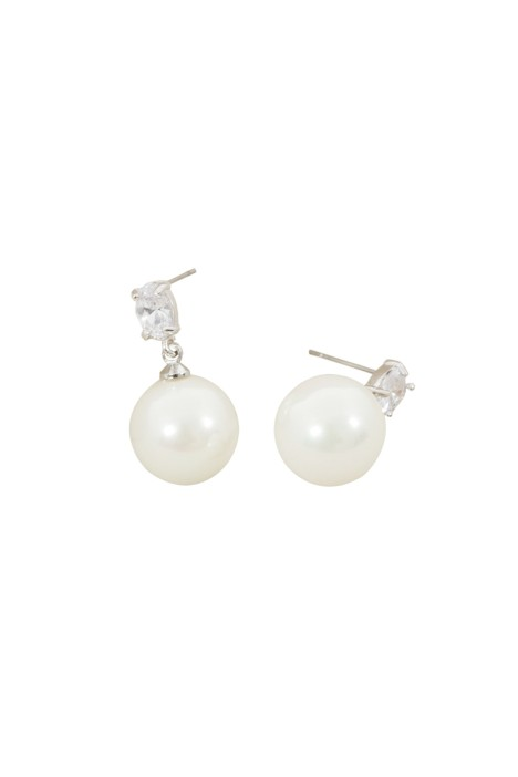 Adorne - Faux Pearl Drop Mini CZ Crystal Stud Earring - Silver White - Front