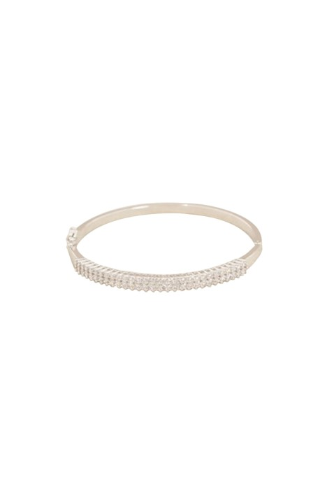 Adorne - Fine Diamante Hinge Metal Bangle - Silver - Front