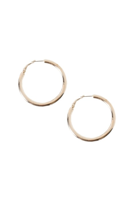 Adorne - Flat Medium Hoop Earring - Gold - Front