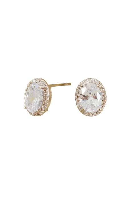 Adorne - Halo Oval Stud Earring - Silver - Front