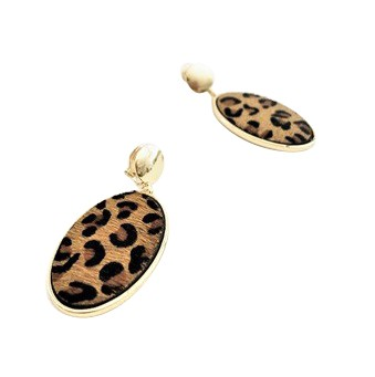 Adorne - Hide Oval Button Top Earrings - Leopard - Product
