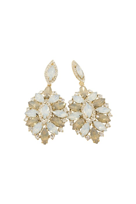 Adorne - Jewelled Petal Edge Pointed Drop Earring - White and Gold - Front