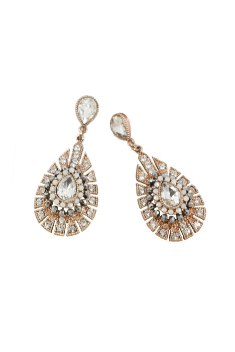 Adorne - Jewelled Teardrop Deco Drop Earring - Gold - Front