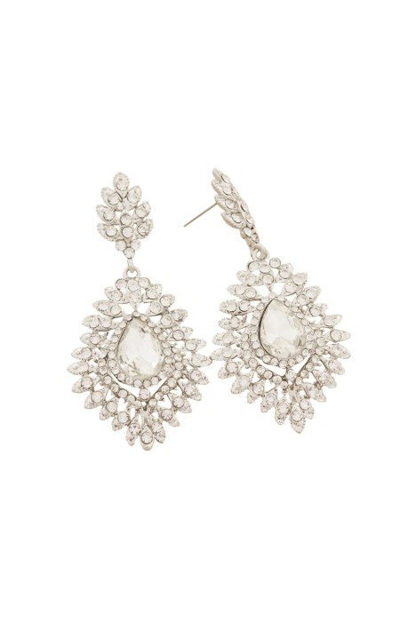 Adorne - Jewelled Teardrop Diamante Fan Edge Earring - Silver - Front