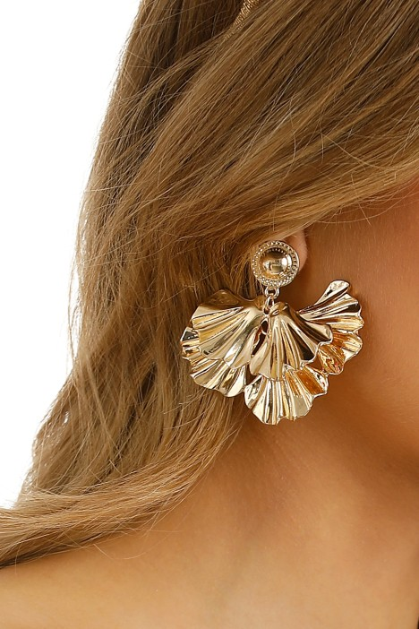 Adorne - Layered Petal Stud Earring - Gold - Product