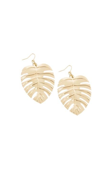 Adorne - Lightweight Monstera Earrings - Gold