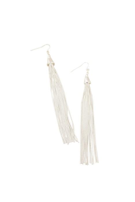 Adorne - Long Fine Tassel Earring - Silver - Front