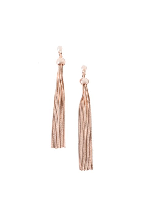 Adorne - Long Tassel Button Top Earring - Rose Gold - Front