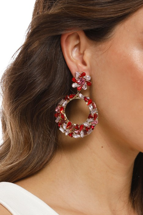 Adorne - Mixed Jewel Flower and Ring Drop Earring - Red - Product