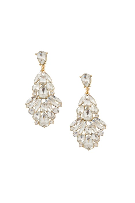 Adorne - Statement Jewel Drop Earring - Gold - Front