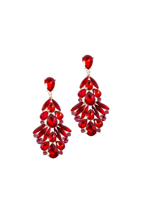 Adorne - Statement Jewel Drop Earring - Red Rose - Front
