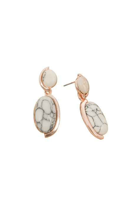 Adorne - Double Almond Drop Stone Stud Earring