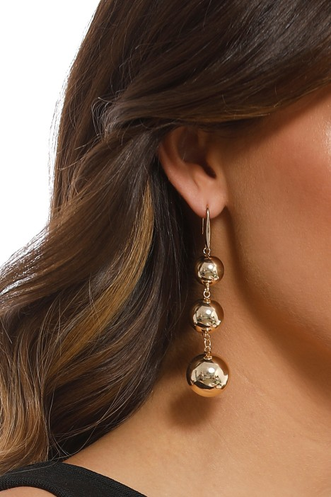 Adorne - Three Ball Drop Hook Earrings - Gold - Product