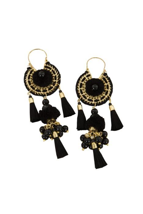 Adorne - Tiered Pom Pom & Pearl Tassel Earring - Black - Front