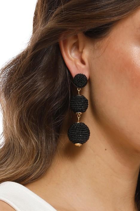 Adorne - Trio Beaded Balls Earring - Black - Product