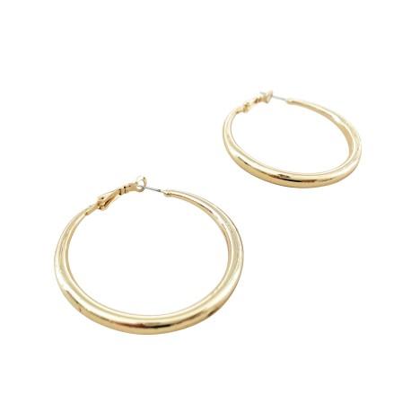 Adorne - Wide Metal Hoop Earrings - Gold - Product