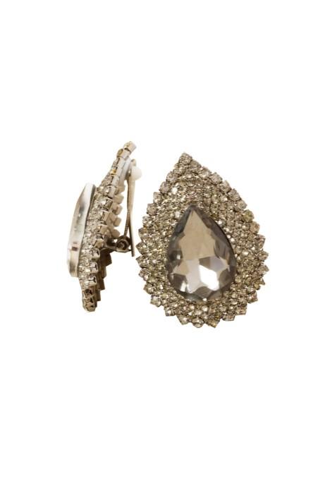 Adorne - XL Jewel Teardrop Diamante Edge Clip On Earring - Front