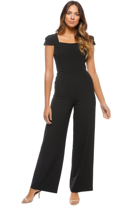Adrianna Papell - Stretch Crepe Jumpsuit - Black - Front