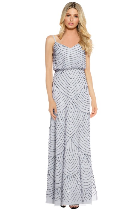 Adrianna Pappell - Art Deco Beaded Blouson Gown Dusty Blue - Front