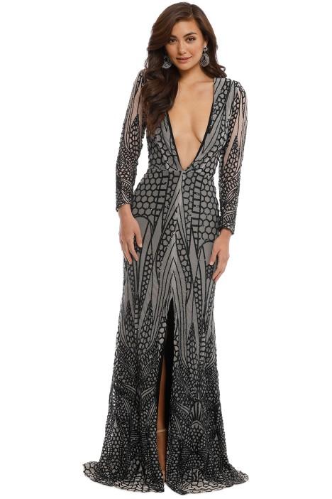 Ae'lkemi - V Plunge Embellished Gown - Black - Front