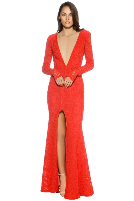 Ae lkemi - V Plunge Red Long Sleeve Gown - Red - Front 85e667b80