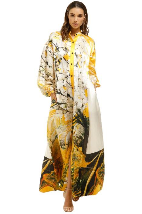 AJE-McMahon-Maxi-Dress-Yellow-Print-Front