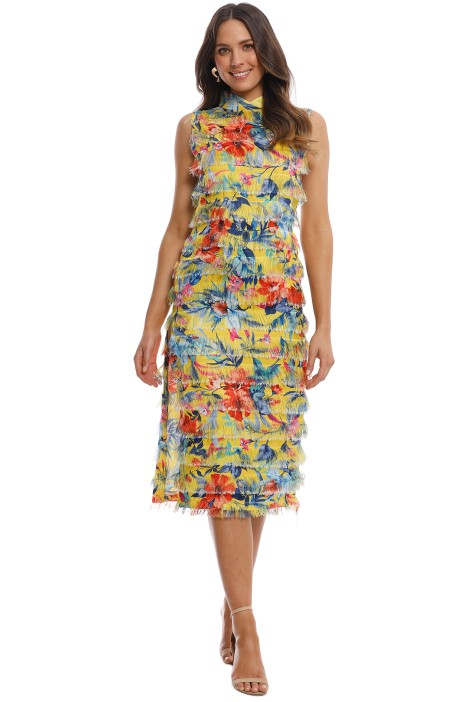 Alcoolique - Xen Midi Dress - Yellow Floral - Front