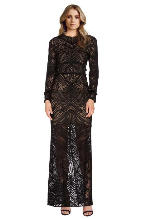 Alexis - Kassidy Fringe Lace Dress - Black - Front