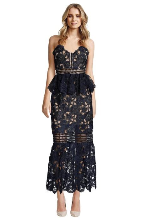 Self Portrait - Amaryllis Sheer Lace Column Dress - Front