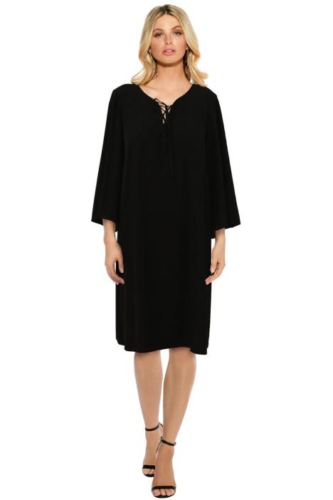 Anna Scholz - Black Lace Up Dress - Black - Front