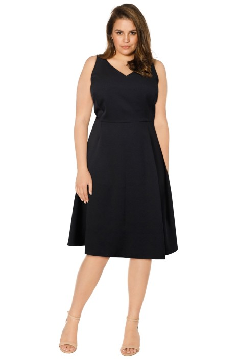 Anna Scholz - Crepe Tailoring V Neck Swing Dress - Black - Front
