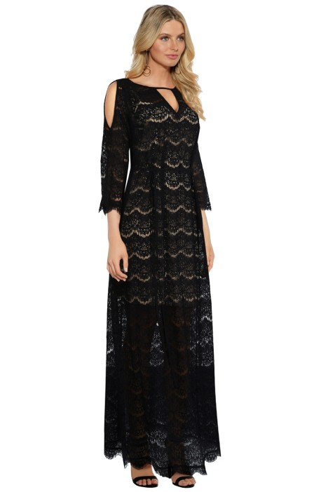 Anna Scholz - Eyelash Lace Maxi Kaftan - Black - Side
