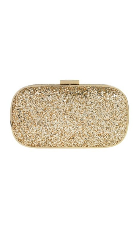 Anya Hindmarch - Marano Metallic Glitter Box Clutch - Gold - Front