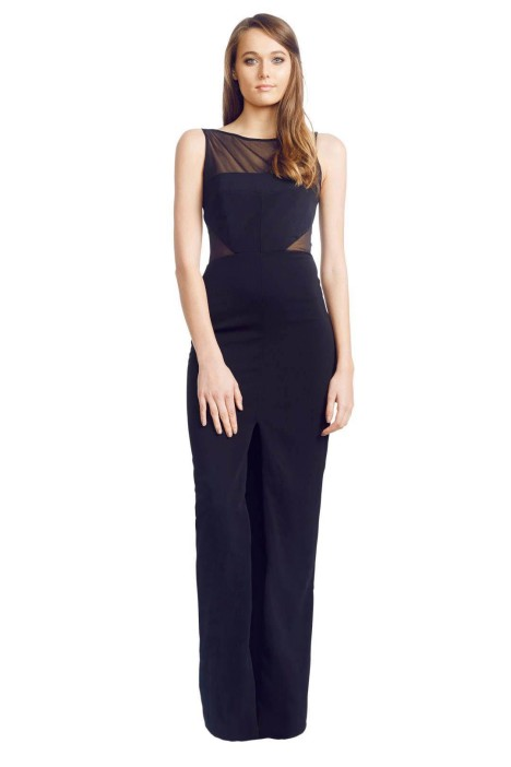 Badgley Mischka - Panel Gown - Front - Black