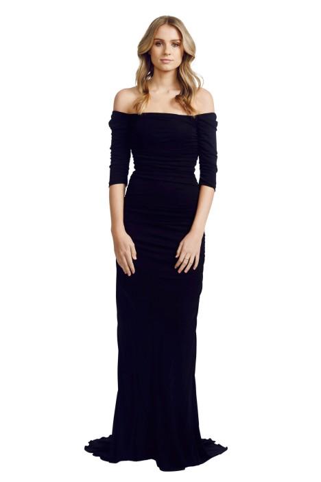 Badgley Mischka - Off Shoulder Gown - Front - Black