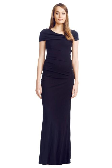 Badgley Mischka - Asymmetric Gown - Front - Black