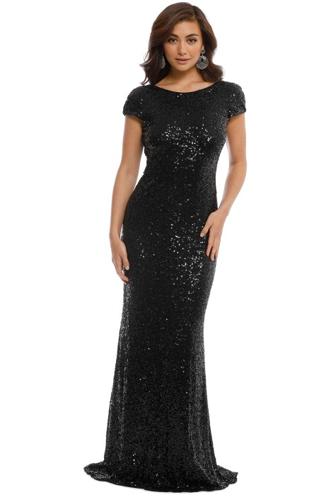 Badgley Mischka - Black Sequin Cowl Back Gown - Front