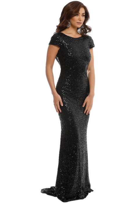 5b6a03f6b4a3 Sequin Cowl Back Gown in Black by Badgley Mischka for Hire