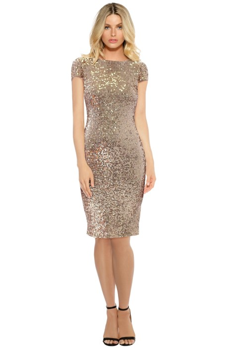 Badgley Mischka - Blush Sequin Cowl Midi Dress - Blush - Front