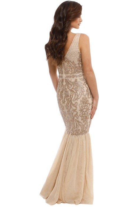 64cac8e9448 Badgley Mischka - Champagne Beaded Gown - Back