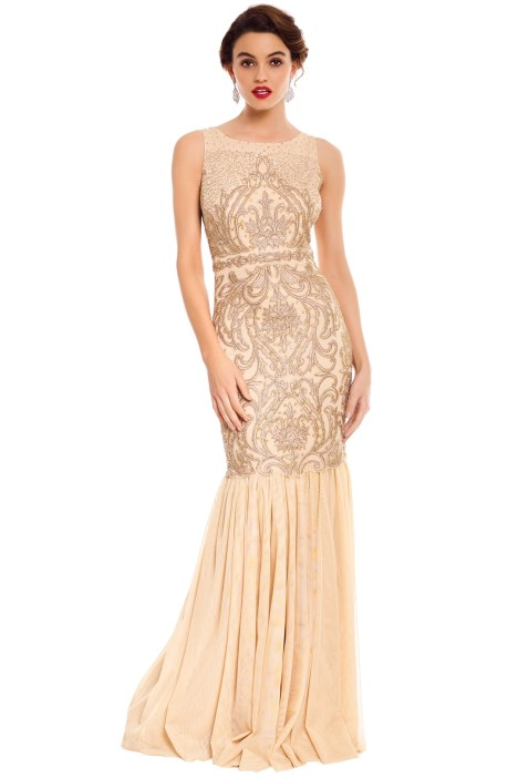 Badgley Mischka - Champagne Beaded Gown - Gold - Front