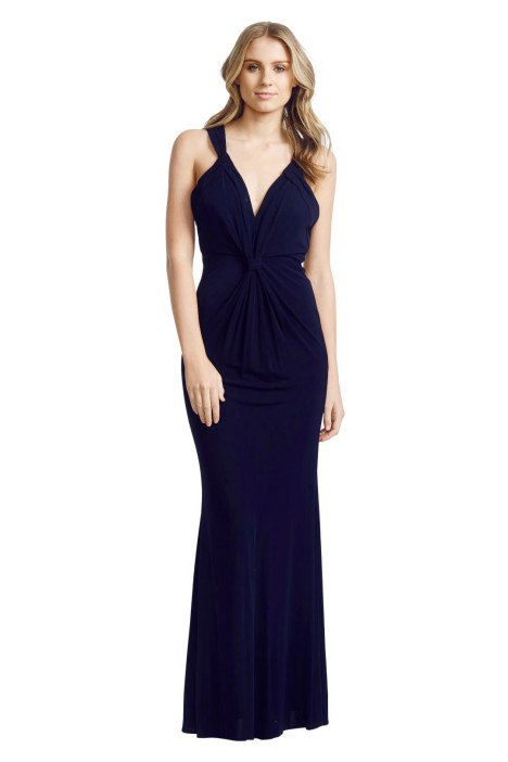 Badgley Mischka - Crossover Gown - Black - Front