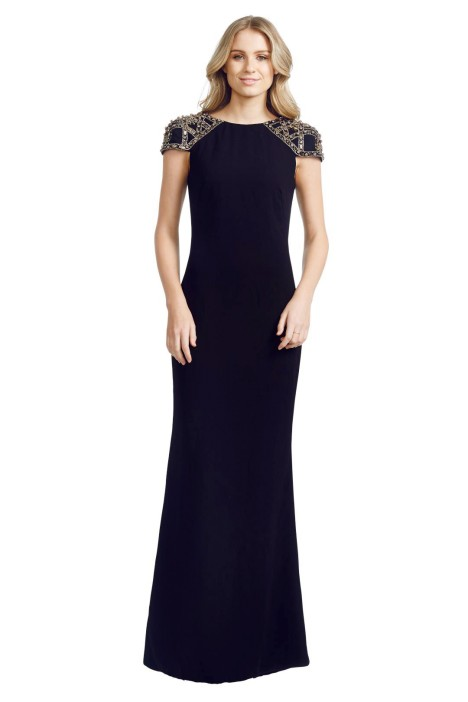 Badgley Mischka - Embellished Gown - Front - Black
