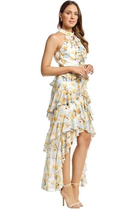 f10ba25c Badgley Mischka - Floral Ruffle Halter Gown - Blue - Side