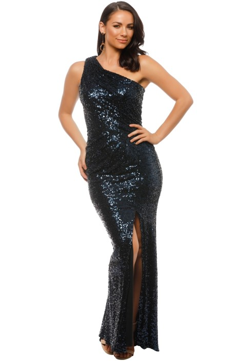 Badgley Mischka - Navy Sequin Gown - Navy - Front