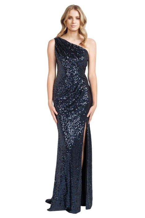 Badgley Mischka - Navy Sequin Gown - Front