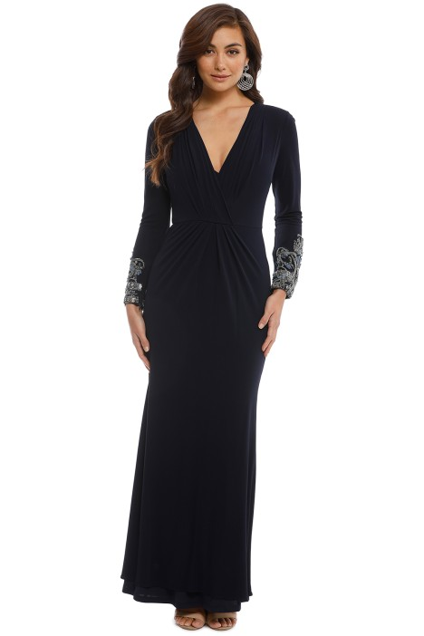 Badgley Mischka - Navy Sequin Long Sleeve Embellished - Navy - Front